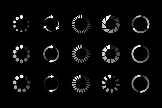Conjunto de icono de carga de sitio web aislado en negro