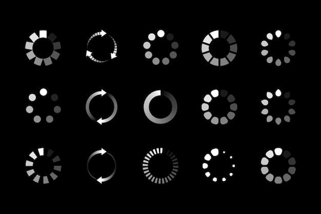 Conjunto de icono de carga de sitio web. cargador de búfer circular o precargador. ilustración
