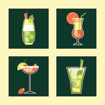 Conjunto del icono del coctel. ilustración del vector