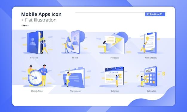 Conjunto de icono de colección de aplicaciones móviles con ilustración plana