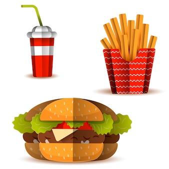 Conjunto de icono de comida rápida