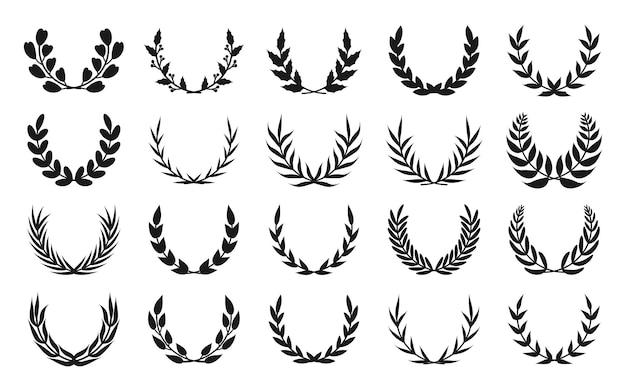 Conjunto de icono de corona de laurel de silueta negra dibujado a mano