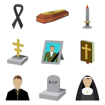 Conjunto de icono de dibujos animados de funeral. aislado