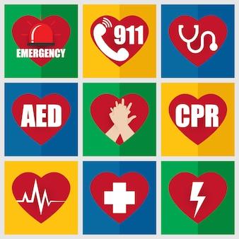 Conjunto de icono de emergencia plana sobre primeros auxilios y rcp