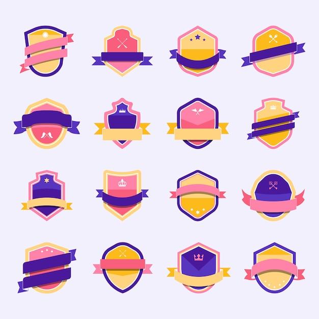Conjunto de icono de escudo colorido embellecido con vectores de banner