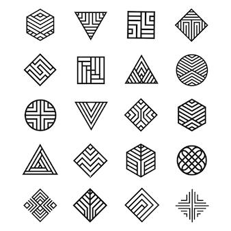 Conjunto de icono de forma de geometría