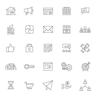 Conjunto de icono de gestión empresarial