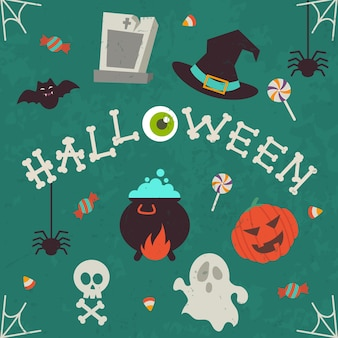 Conjunto de icono de halloween aislado