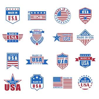 Conjunto de icono hecho en estados unidos con bandera y estrellas