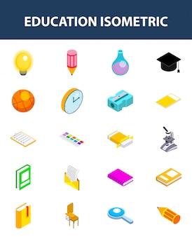 Conjunto de icono isométrico de educación en blanco