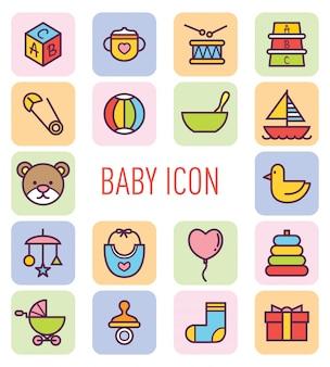 Conjunto de icono lindo bebé