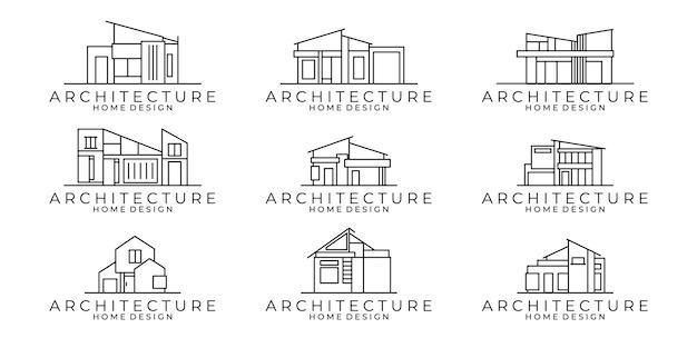 Conjunto de icono de línea de casa. diseño de ilustración de vector de arquitectura de edificio