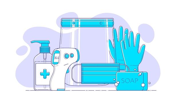 Conjunto de icono de línea de vector ppe sobre fondo de formas abstractas para infografía médica