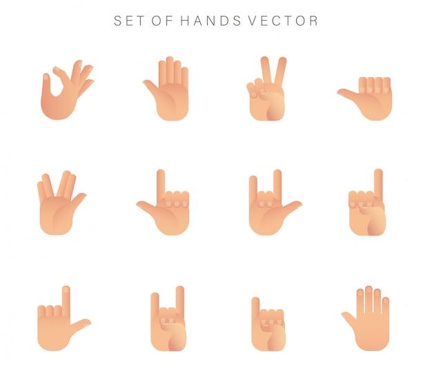 Conjunto de icono de manos