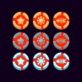 Conjunto de icono de monedas de moneda de lava de piedra, hielo y madera de gui para elementos de activos de interfaz de usuario del juego