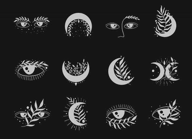 Conjunto de icono de la naturaleza elegante. luna, ojos y luna