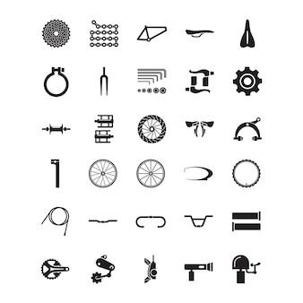Conjunto de icono de parte de bicicleta