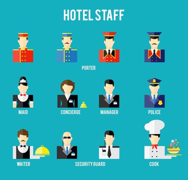 Conjunto de icono plano del personal del hotel. vigilante y policía, portero y camarero, recepcionista y conserje. ilustración vectorial