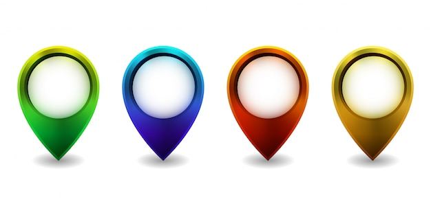Conjunto de icono de puntero de mapa brillante sobre fondo blanco. ilustración