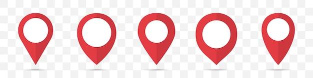 Conjunto de icono de punteros de mapa rojo en un diseño plano