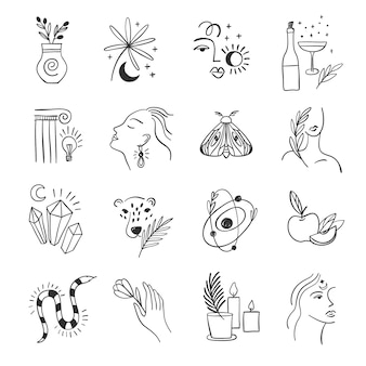 Conjunto de icono para redes sociales. flores de moda y alquimia. elementos lineales.