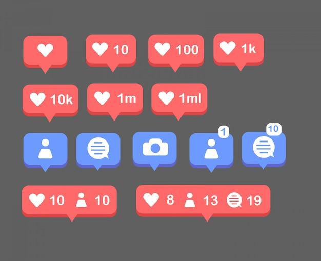 Conjunto de icono social. icono social