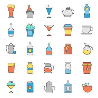 Conjunto de icono de vasos de bebidas