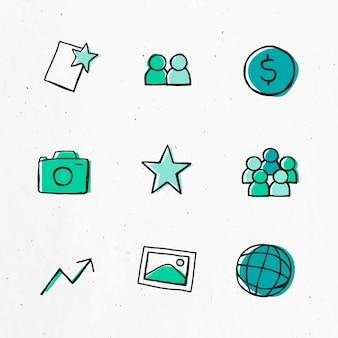 Conjunto de icono verde para uso empresarial