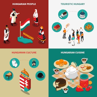 Conjunto de iconos 2x2 turístico isométrico de hungría