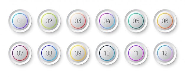 Conjunto de iconos 3d de círculo blanco con viñeta numérica del 1 al 12.