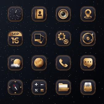 Conjunto de iconos 3d con color dorado moderno