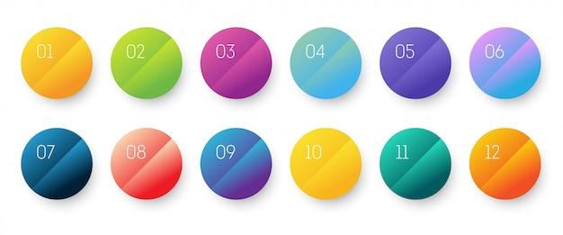 Conjunto de iconos 3d degradado de círculo con número de viñeta del 1 al 12.