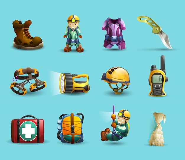 Conjunto de iconos 3d de espeleología