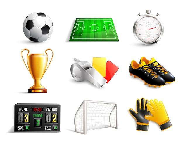 Conjunto de iconos 3d de fútbol