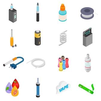 Conjunto de iconos 3d isométricos de cigarrillos electrónicos