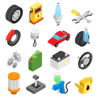 Conjunto de iconos 3d isométricos de mantenimiento de servicio de coche