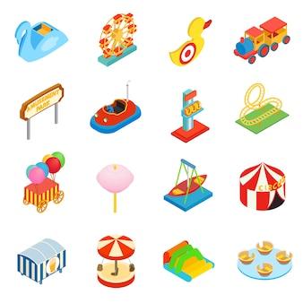 Conjunto de iconos 3d isométricos del parque de atracciones