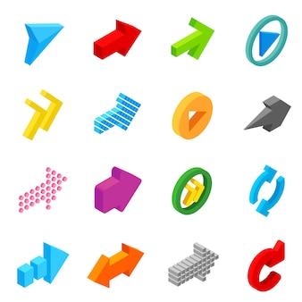 Conjunto de iconos 3d isométricos signo de flecha