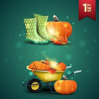 Conjunto de iconos 3d de otoño, botas de goma, calabaza, carretilla de jardín con una cosecha de calabazas y hojas de otoño.