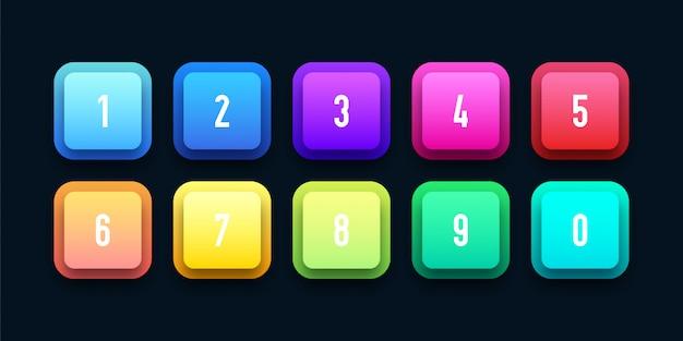 Conjunto de iconos 3d redondeado con viñeta de número
