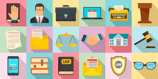 Conjunto de iconos de abogado, estilo plano