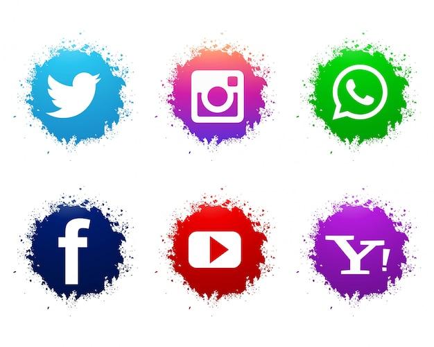 Conjunto de iconos abstractos acuarela redes sociales