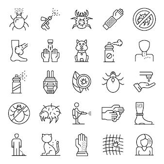 Conjunto de iconos de ácaros, estilo de contorno