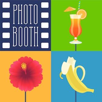 Conjunto de iconos de accesorios de cabina de fotos