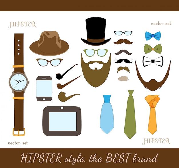 Conjunto de iconos de accesorios hipster