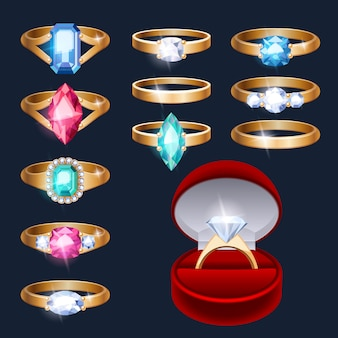 Conjunto de iconos de accesorios de joyería de anillos realistas.