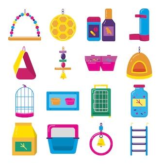 Conjunto de iconos de accesorios para pájaros en jaula.