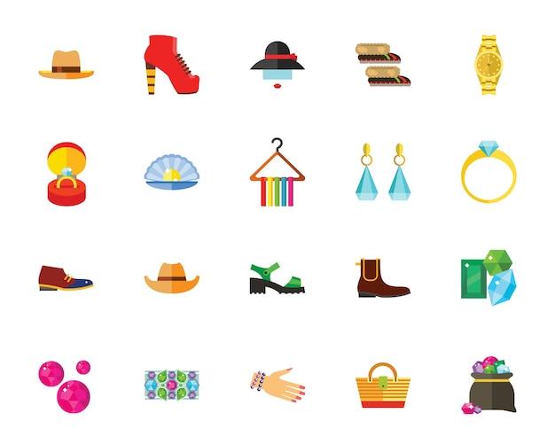 Conjunto de iconos de accesorios y zapatos