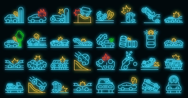 Conjunto de iconos de accidente de coche. esquema conjunto de iconos de vector de accidente de coche color neón en negro
