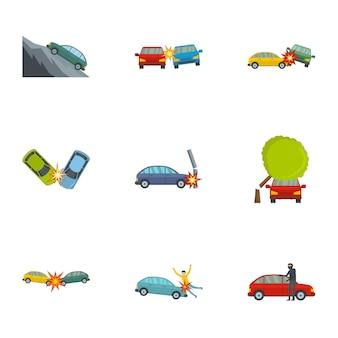 Conjunto de iconos de accidente de coche, estilo de dibujos animados